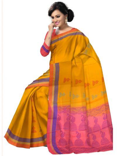 Vipanji Soft Silk Yellow Saree