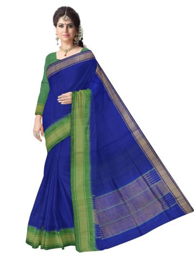Jute Blue Silk Saree