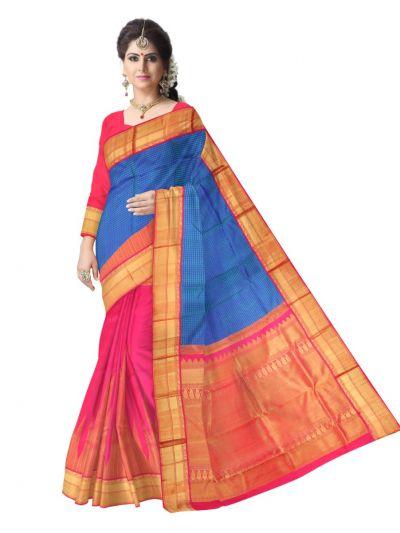 LJC9092308-Estrila Handloom Half & Half Silk Saree
