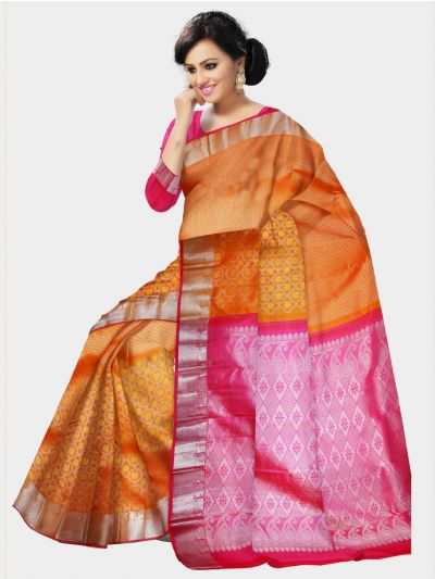 Vivaha Orange Kanchipuram Silk Saree