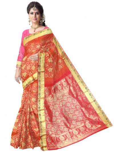 Vivaha Orange Wedding Silk Saree with Stone Work