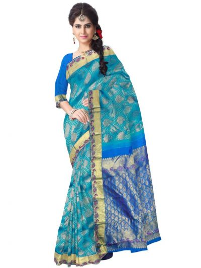 Vivaha Blue Wedding  Silk Saree with Stone Work