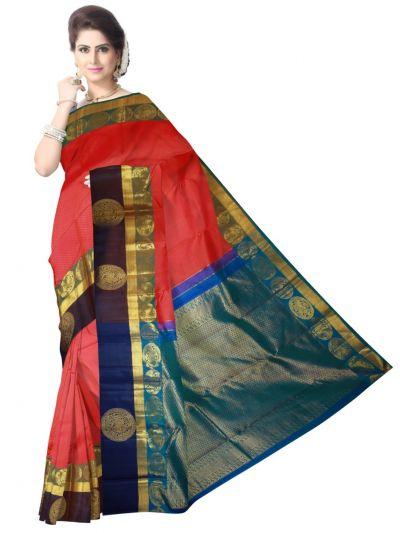 Vivaha Kanchipuram Silk Saree - Red - LJE0952767