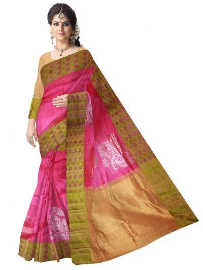 Vivaha Kanchipuram Silk Saree - Pink - LJE1173477