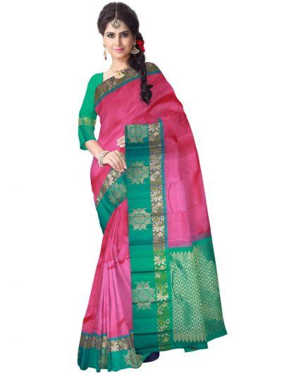Vivaha Kanchipuram Silk Saree - Pink - LJE1173486