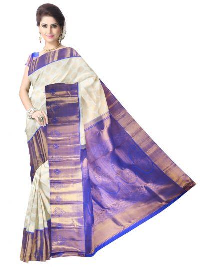 Vivaha Kanchipuram Silk Saree - Offwhite - LJE1183015