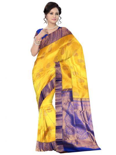 Vivaha Kanchipuram Silk Saree - Yellow - LJE1183019