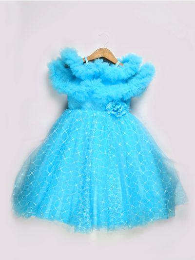 Girls Imported Fancy Frock - Sky Blue