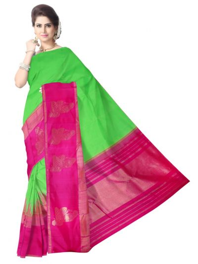 Vivaha Green with Pink Bridal Silk Saree