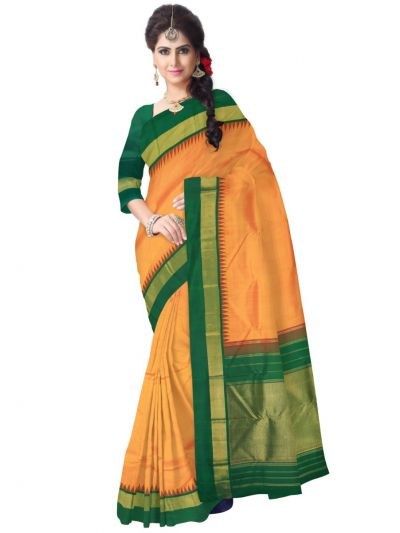 Vivaha Orange Silk Saree