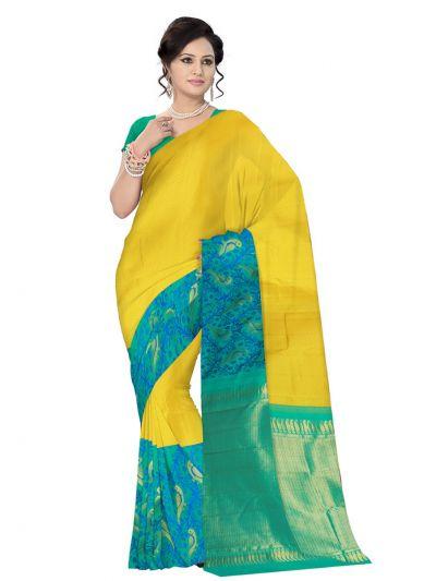 Vivaha Kanchipuram Silk Saree - light green with Blue - LKA2112732
