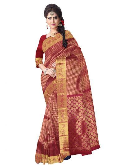 Vivaha Kanchipuram Silk Saree - Maroon - LKA2458618