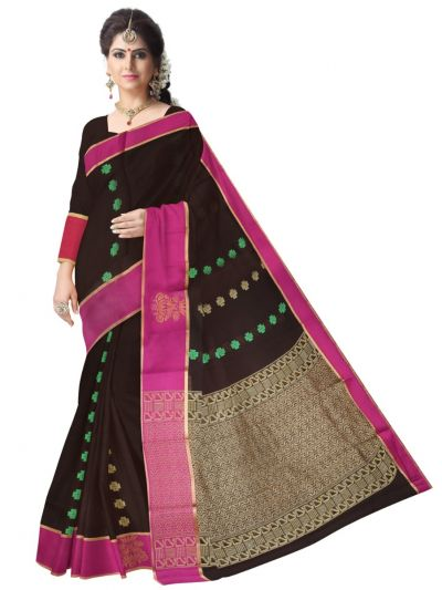 Fancy Silk Cotton Maroon Saree