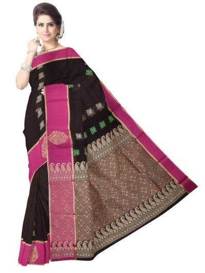 Fancy Silk Cotton Brown Saree