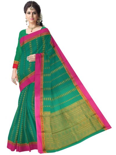 Fancy Silk Cotton Green Saree