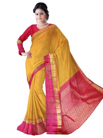 Vivaha Kanchipuram Silk Saree - Yellow - LKA2522772