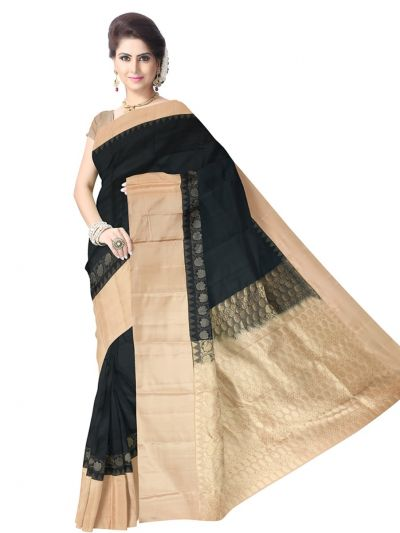 Black Pure Soft Silk Saree