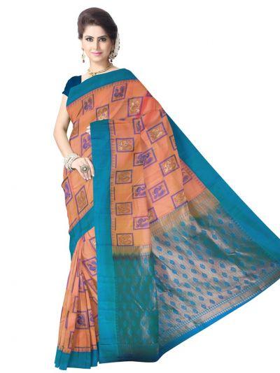 Orange Pure Soft Silk Saree