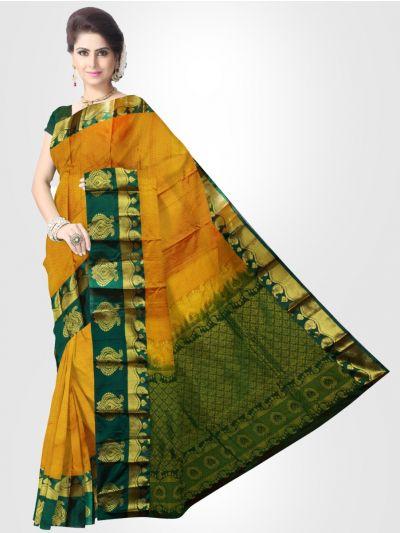 Vipanji Traditional Silk Saree – Orange – LKB2991348