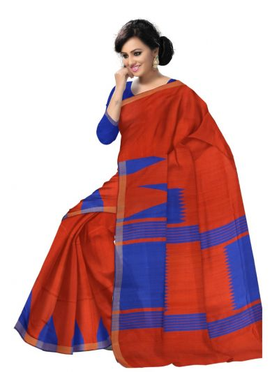 Jute Red Silk Saree