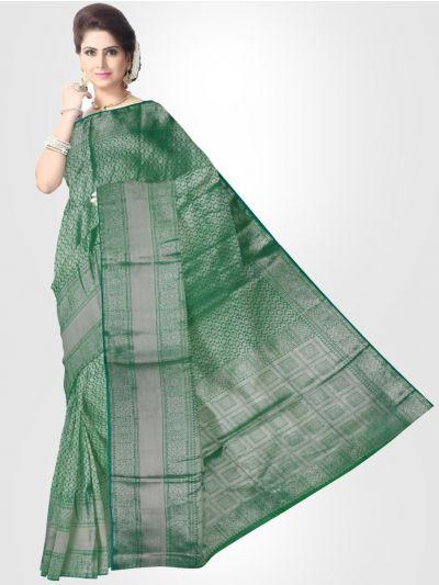 Silk Cotton Saree - Green - LKB3400870