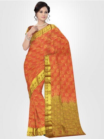 Orange Traditional Silk Saree - LKB3439268