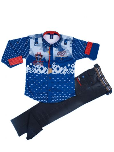 Boys Casual Shirt and Denim Pant Set- LKC3742563- 5 Years