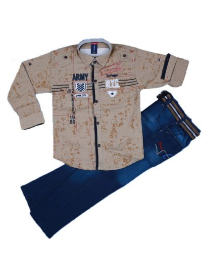 Boys Casual Shirt and Denim Pant Set- LKC3742565-6 Years