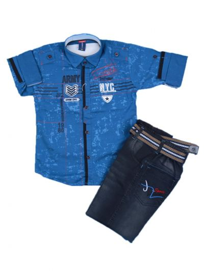 Boys Casual Shirt and Denim Pant Set- LKC3742582-5 Years