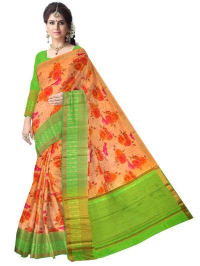 Fancy Multi Color Printed Cotton Saree - LKC3944189