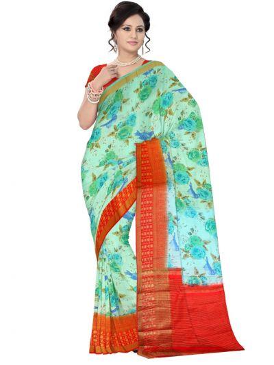 Fancy Multi Color Printed Cotton Saree - LKC3944194