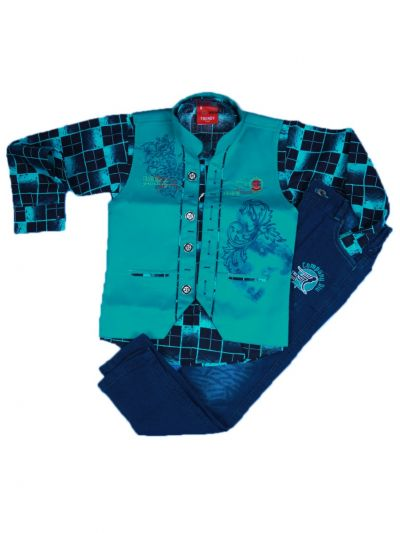 Boys Casual Shirt and Denim Pant Set- LKC4131713-5 Years