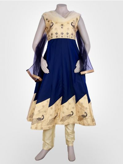 Girl's Embroidered Heavy Chanderi Party Wear Salwar Kameez - LKD4544639 - 38-M Size