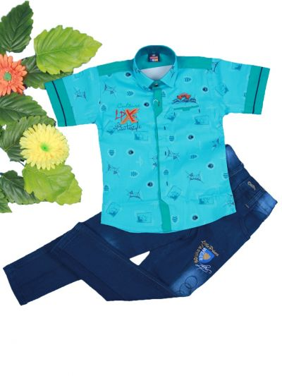 Boys Casual Shirt and Denim Pant Set- LKD4827548-4 Years
