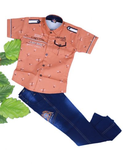 Boys Casual Shirt and Denim Pant Set- LKD4827549-4 Years