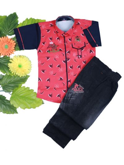 Boys Casual Shirt and Denim Pant Set- LKD4827551-4years