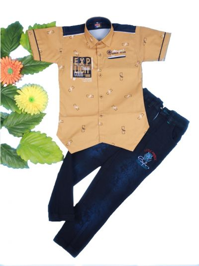 Boys Casual Shirt and Denim Pant Set- LKD4827552-4 Years
