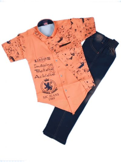 Boys Casual Shirt and Denim Pant Set- LKD4827553 -4 Years