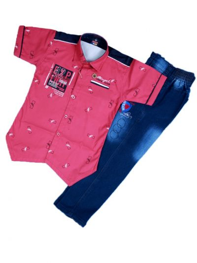 Boys Casual Shirt and Denim Pant Set- LKD4827554-4 Years
