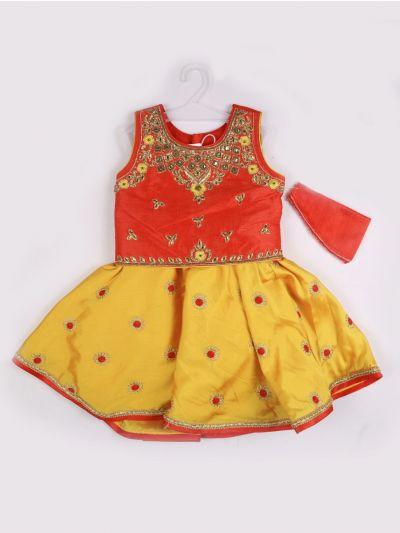 Girls Midi Dress - Red with Yellow