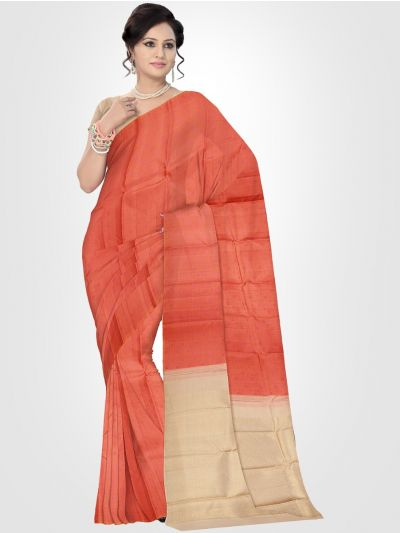 Estrila Kanchipuram Orange Silk Saree