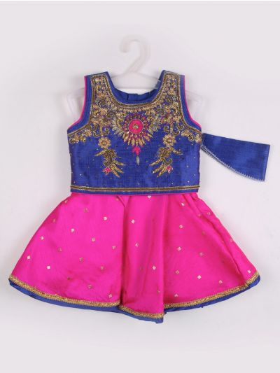 Girls Midi Dress - Blue with Pink