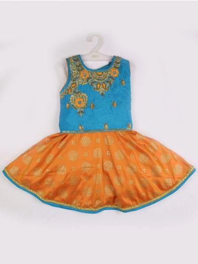 Girls Midi Dress - Blue with orange