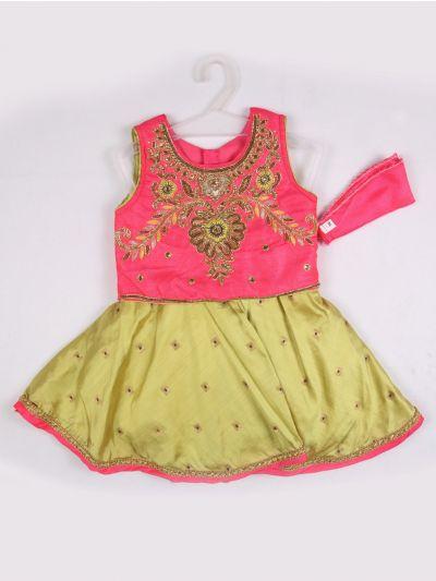 Girls Midi Dress - Pink with Green