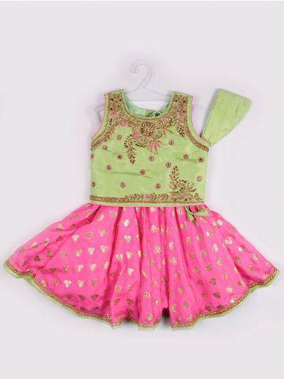 Girls Midi Dress - Pista Green with Pink