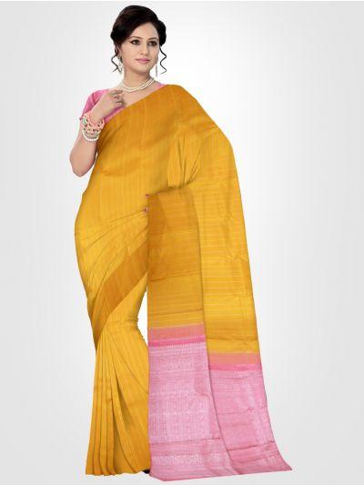 Estrila Kanchipuram Yellow Silk Saree