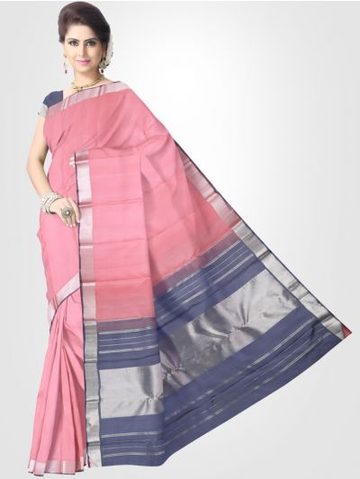 Estrila Kanchipuram Pink Silk Saree