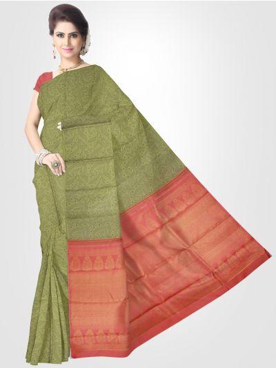 Estrila Kanchipuram Olive Green Silk Saree