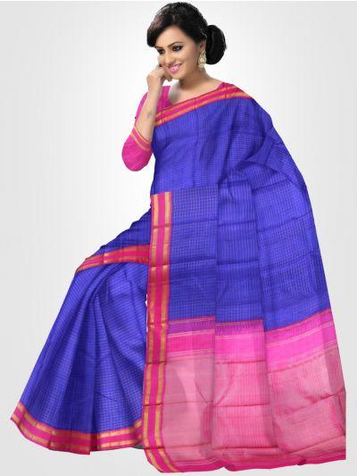 Estrila Kanchipuram Blue Silk Saree - LLB6121275