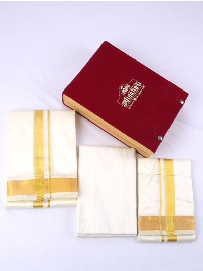 Vivaha Pure Silk Shirt & Dhothi Material Set